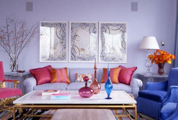 Как оформить гостиную в сиреневом цвете?