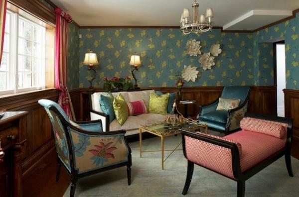 Особенности оформления синим цветом интерьера современной гостиной