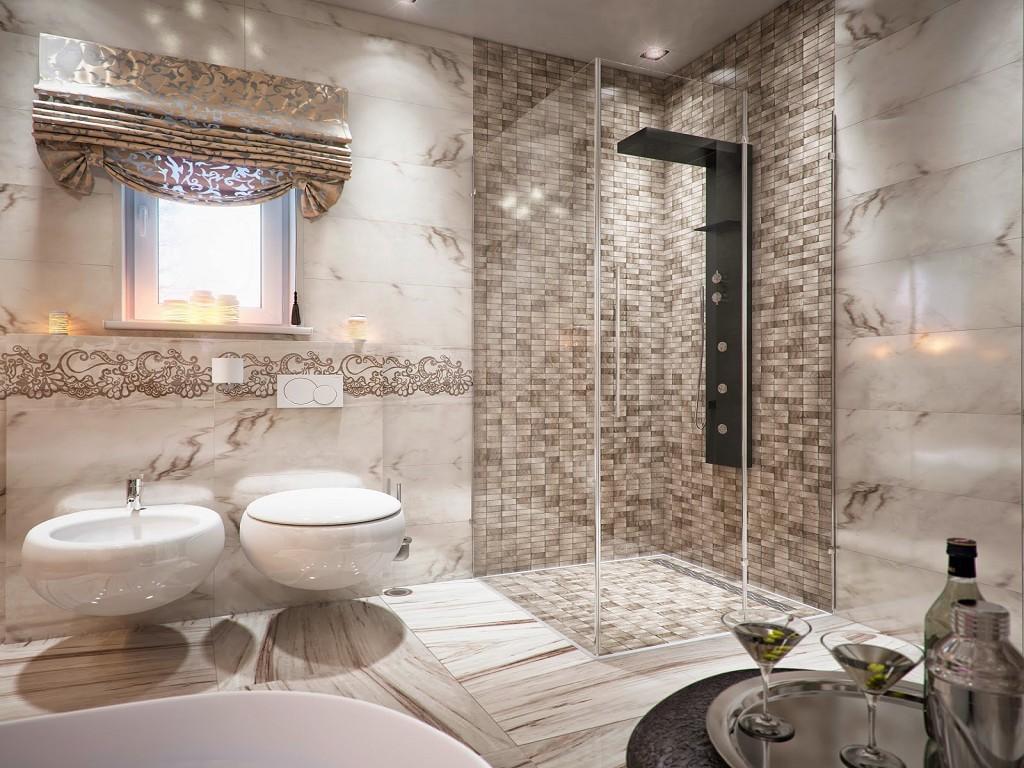Модный дизайн маленькой ванной комнаты 2018 631
