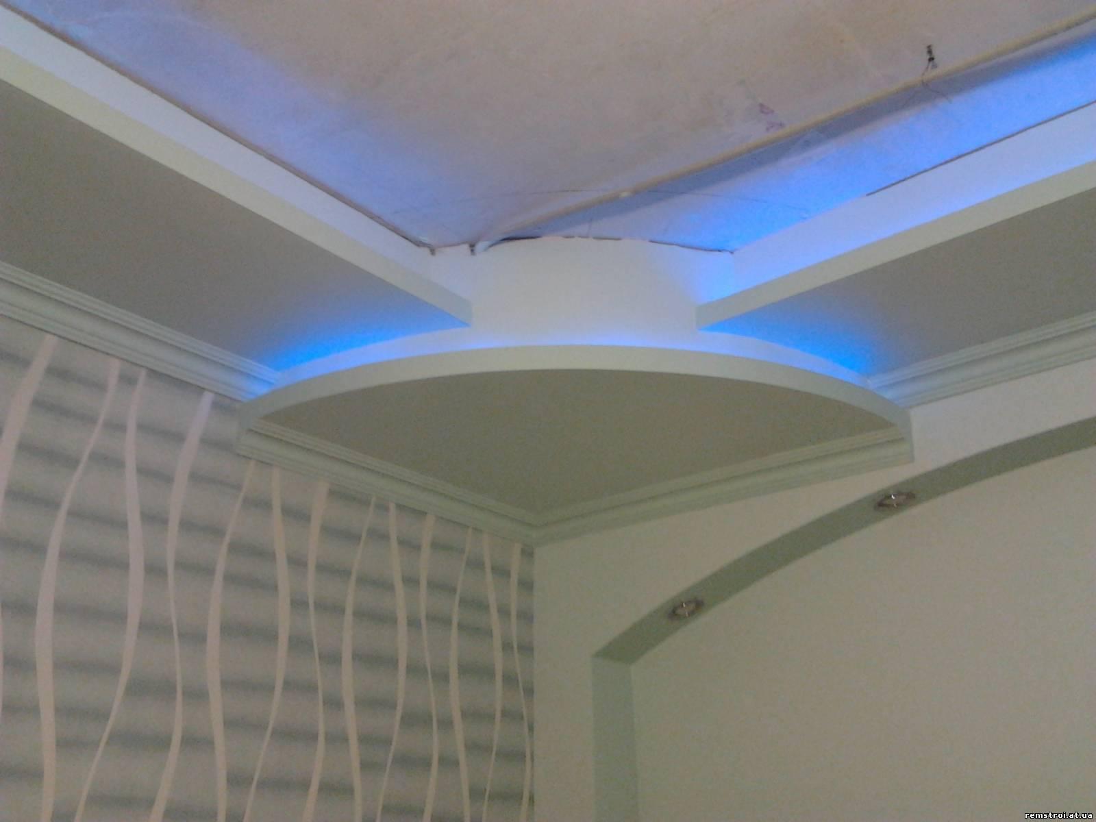 Потолок из гипсокартона с подсветкой своими руками 71