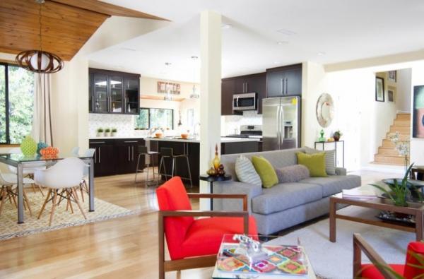 Правильное зонирование при воплощении дизайна кухни, совмещенной с гостиной