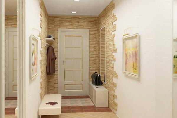 Отделка прихожей декоративным камнем, фото интерьеров