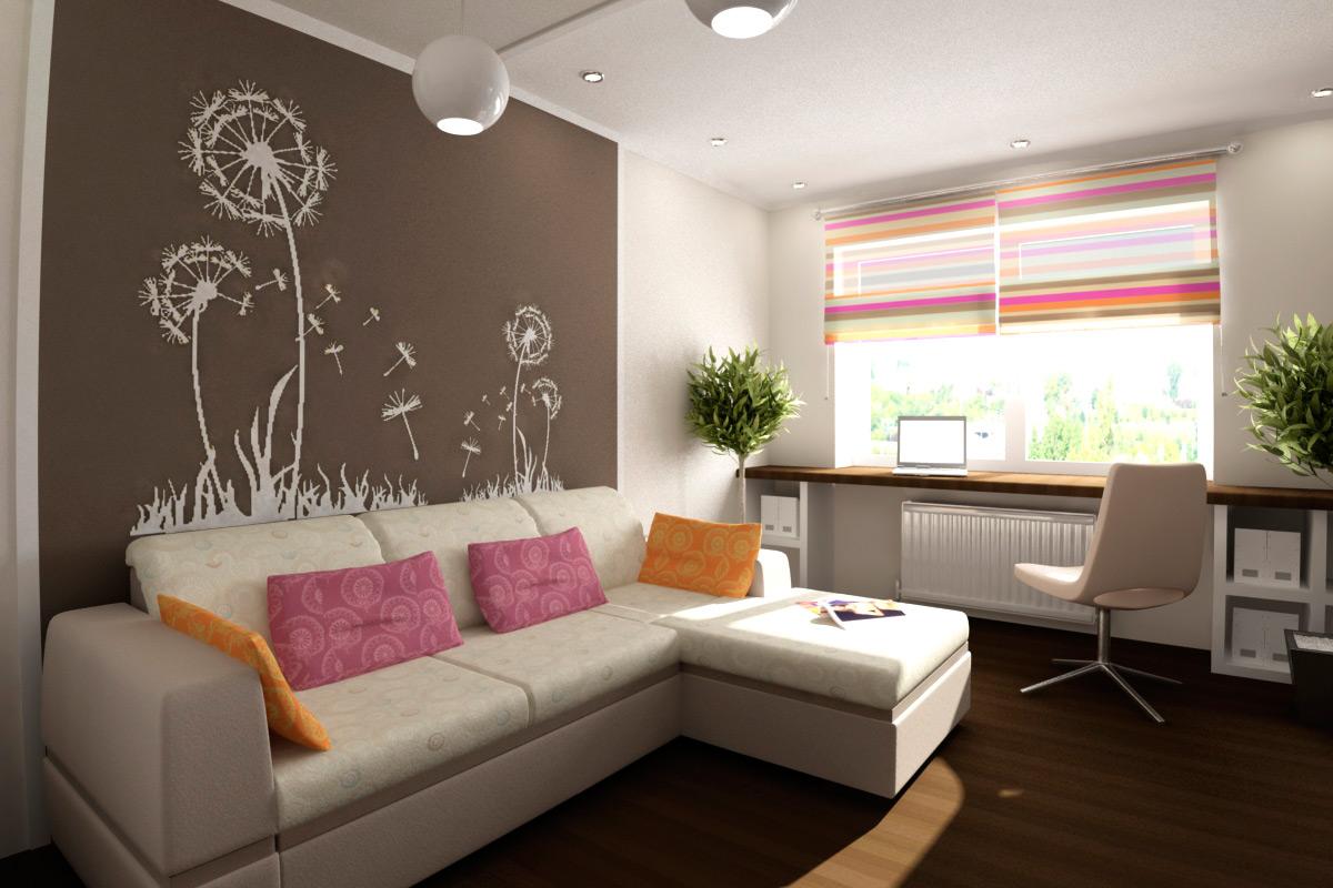 Комната 8 кв м дизайн с диваном