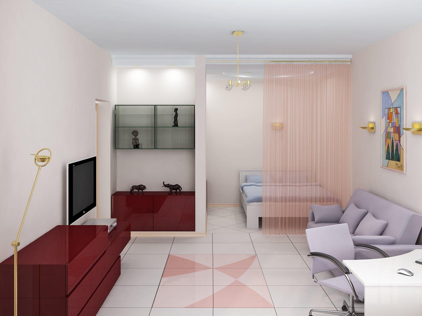 Выбрать интерер под планировку однокомнатной квартиры