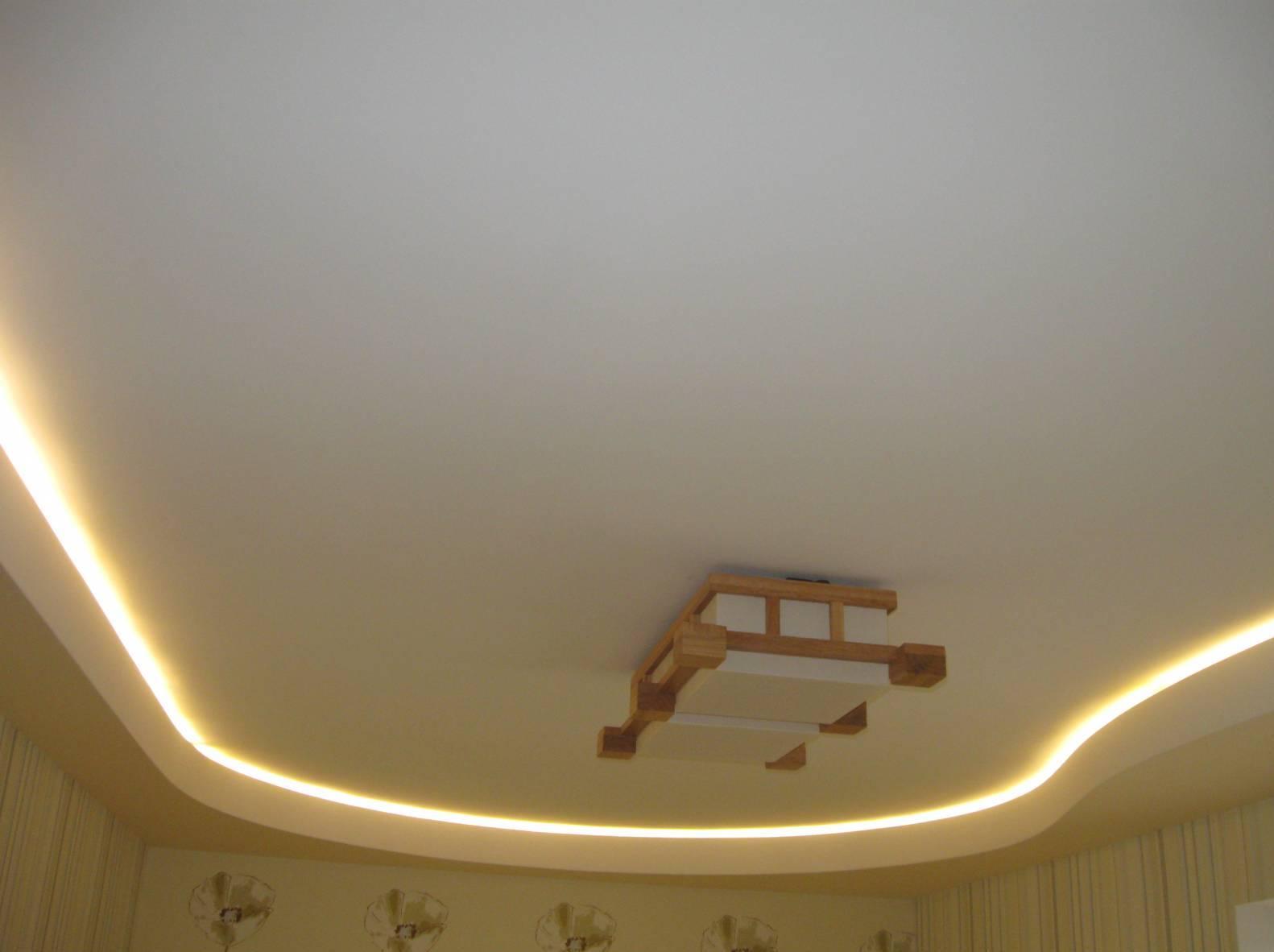 Потолок из гипсокартона с подсветкой своими руками 81