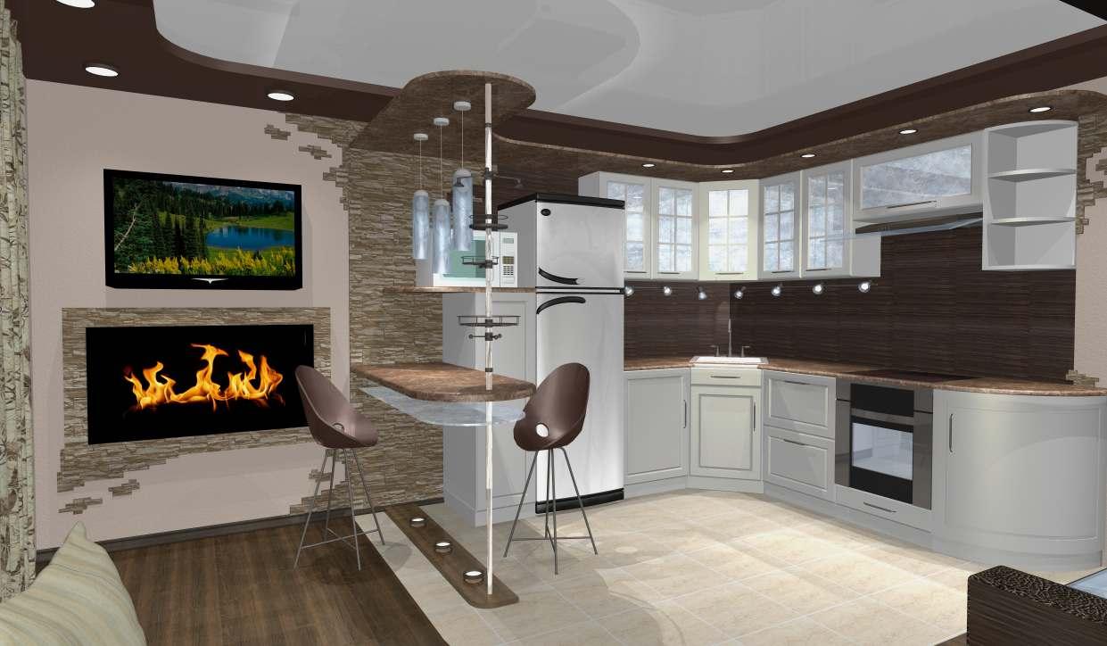 Дизайн интерьер кухня студия фото