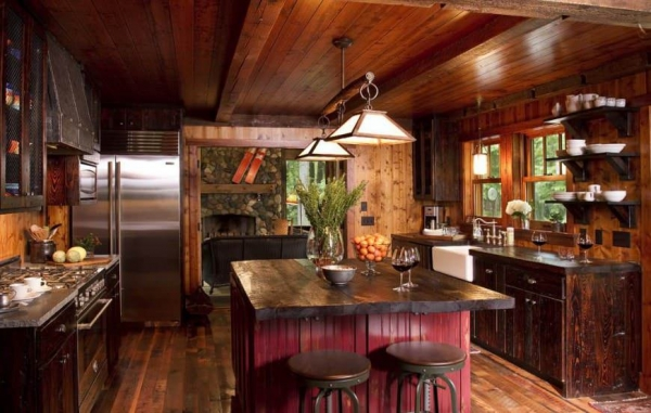Современная кухня в стиле шале: расцветки и особенности